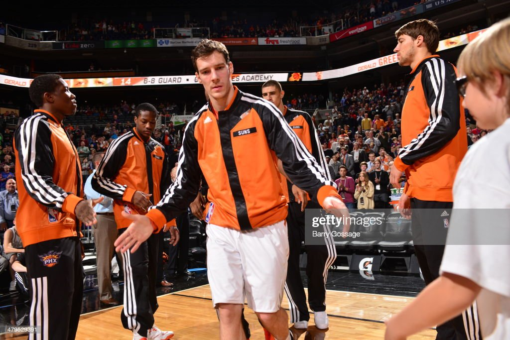 <a gi-track='captionPersonalityLinkClicked' href=/galleries/search?phrase=Goran+Dragic&family=editorial&specificpeople=4452965 ng-click='$event.stopPropagation()'>Goran Dragic</a> #1 of the Phoenix Suns prepares before the game against the Portland Trail Blazers on November 27, 2013 at U.S. Airways Center in Phoenix, Arizona.