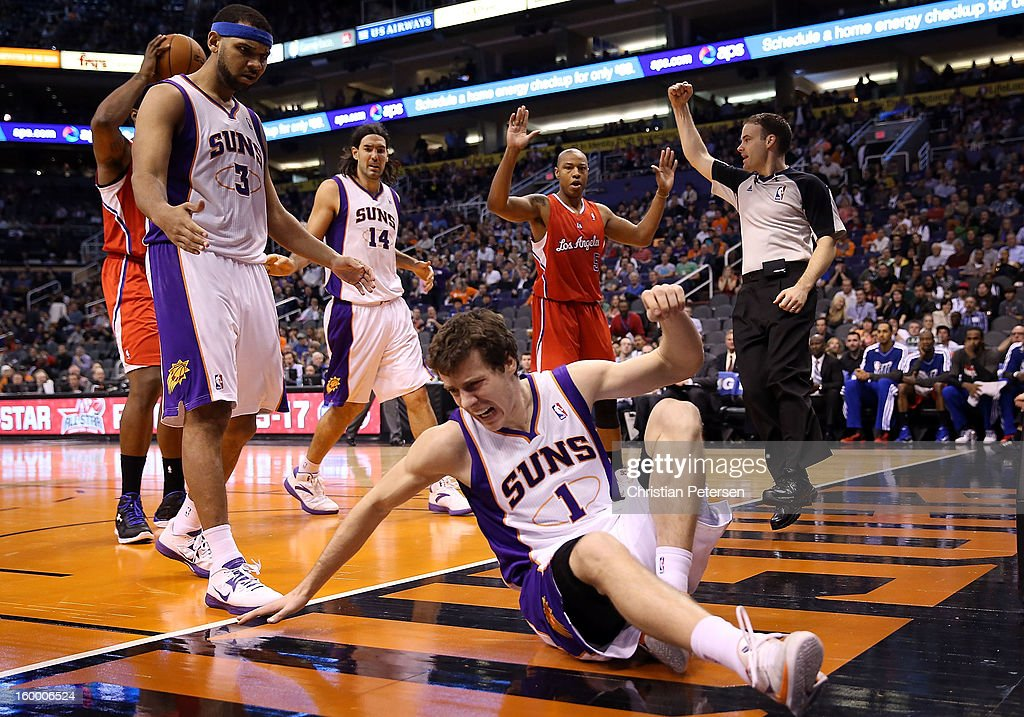 Goran Dragic #1 of the Phoenix Suns reacts after being fouled by Caron Butler #5 of the Los Angeles Clippers during the second half of the NBA game at US Airways Center on January 24, 2013 in Phoenix, Arizona. The Suns defeated the Clippers 93-88.