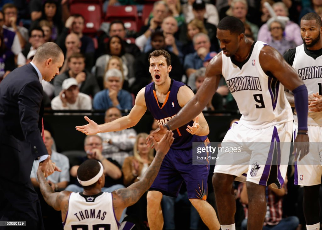 Goran Dragic #1 of the Phoenix Suns reacts after he was called for an offensive foul during their game against the Sacramento Kings at Sleep Train Arena on November 19, 2013 in Sacramento, California.