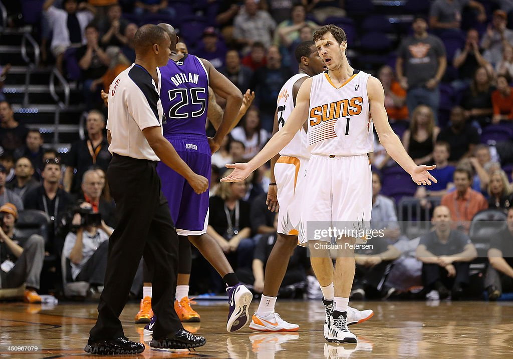 Goran Dragic #1 of the Phoenix Suns reacts to a foul call during the second half of the NBA game against the Sacramento Kings at US Airways Center on November 20, 2013 in Phoenix, Arizona. The Kings defeated the Suns 113-106.