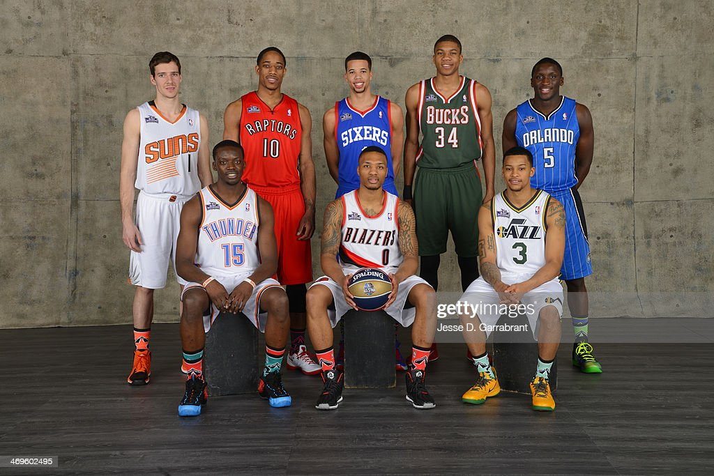 Goran Dragic of the Phoenix Suns, Reggie Jackson of the Oklahoma City Thunder, DeMar DeRozan of the Toronto Raptors, Michael Carter-Williams of the Philadelphia 76ers, Damian Lillard of the Portland Trail Blazers, Giannis Antetokounmpo of the Milwaukee Bucks, Trey Burke of the Utah Jazz, and Victor Oladipo of the Orlando Magic poses for a portrait prior to the Taco Bell Shooting Stars as part of the of the 2014 State Farm Saturday Night on February 15, 2014 at the Smoothie King Center in New Orleans, Louisiana.