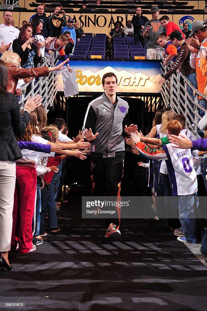 Goran Dragic #1 of the Phoenix Suns runs out before the game against the Utah Jazz on January 4, 2013 at U.S. Airways Center in Phoenix, Arizona.