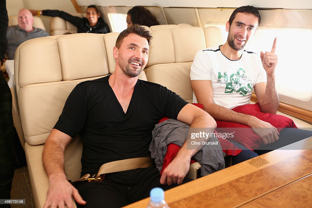 Goran Ivanisevic and Marin Cilic of the UAE Royals on a private jet from Manila to Singapore prior to the CocaCola International Premier Tennis...