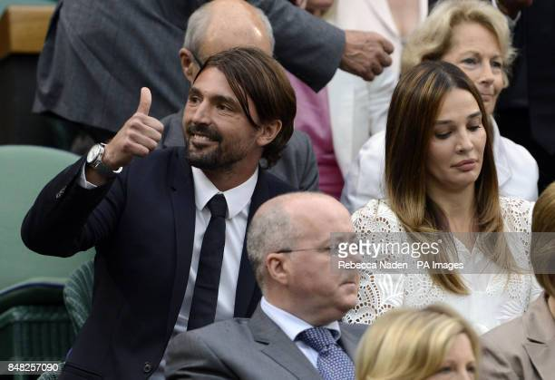 Goran Ivanisevic and Tatjana Dragovic in the Royal Box during day eleven of the 2012 Wimbledon Championships at the All England Lawn Tennis Club...