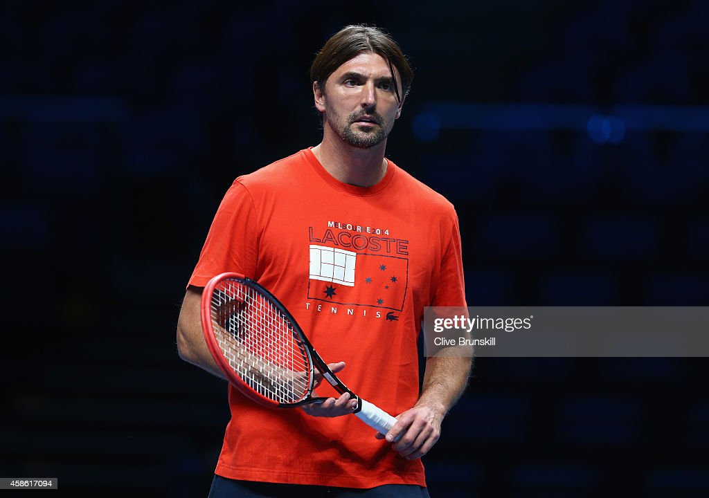 Goran Ivanisevic coach of Marin Cilic of Croatia watches practice during the Barclays ATP World Tour Finals tennis previews at the O2 Arena on...