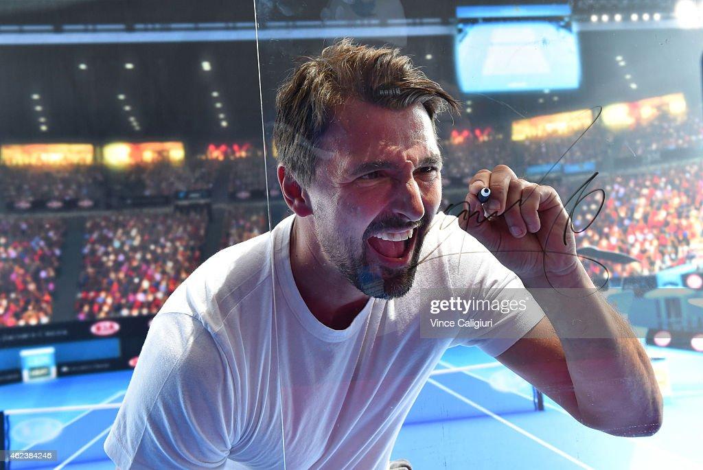 Goran Ivanisevic of Croatia during his video performance at the Australian Open Big Mac Legends stand during the 2015 Australian Open at Melbourne...