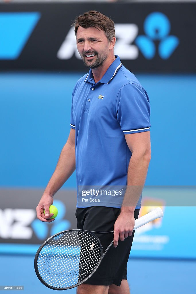 Goran Ivanisevic of Croatia in action in their legends doubles match during day nine of the 2015 Australian Open at Melbourne Park on January 27 2015...