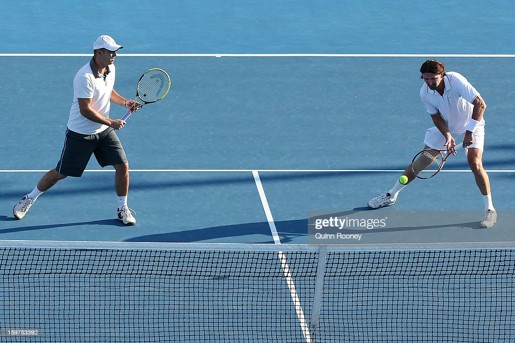 Goran Ivanisevic of Croatia plays a forehand in his fourth round legends doubles match with Cedric Pioline of France against Guy Forget of France and Henri Leconte of France during day seven of the 2013 Australian Open at Melbourne Park on January 20, 2013 in Melbourne, Australia.