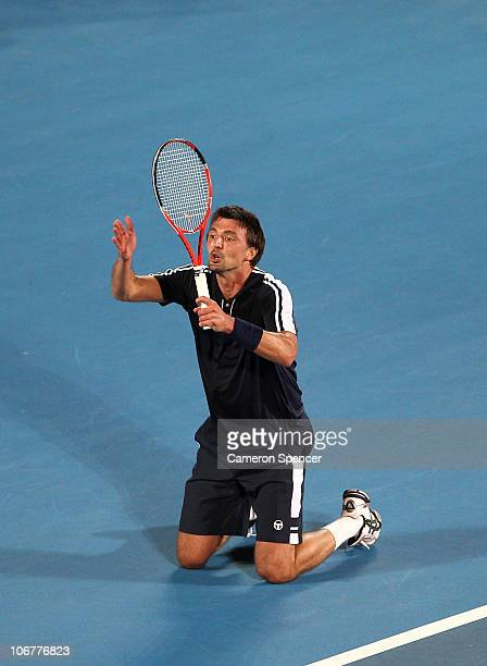 Goran Ivanisevic of Croatia praises a linesman during his match against Henri Leconte of France during day two of the Champions Downunder at Sydney...