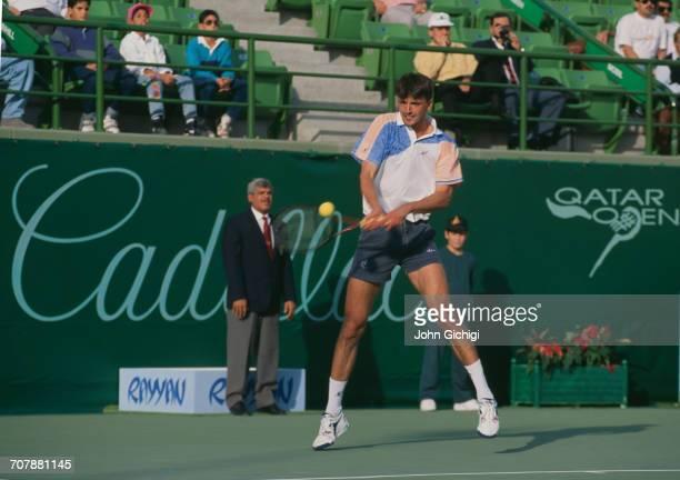 Goran Ivanisevic of Croatia returns against Boris Becker in the Men's Singles Final of the Mannai Cadillac Qatar Tennis Open on 11 January 1993 at...