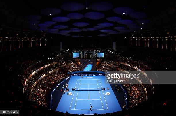 Goran Ivanisevic of Croatia serves during the singles final between Goran Ivanisevic of Croatia and Todd Martin of United States on day six of the...