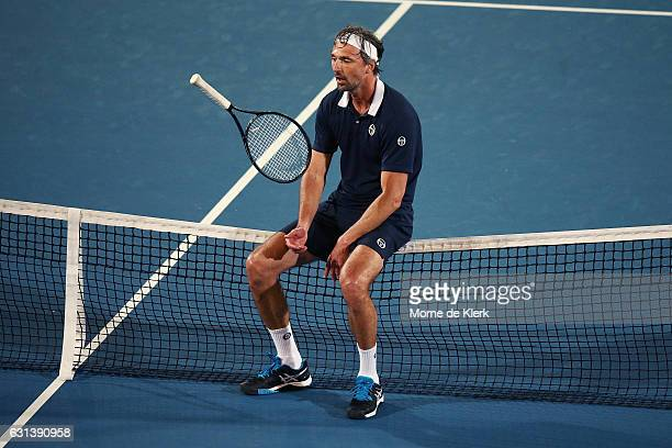Goran Ivanisevic of Croatia sits on the net during day one of the 2017 World Tennis Challenge at Memorial Drive on January 10 2017 in Adelaide...