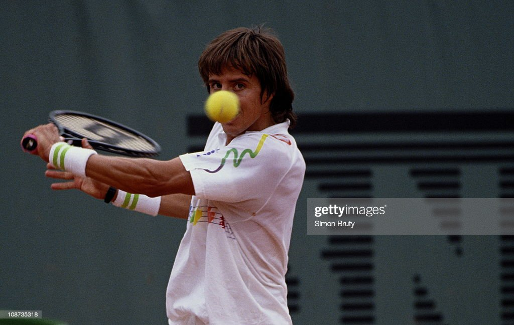 Goran Ivanisevic of Croatio during a Men's Singles match during the French Open Tennis Championship on 1st June 1989 at the Stade Roland Garros...