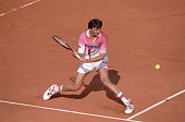 Goran Ivanisevic prepares to hit a backhand stroke during the 1994 French Open