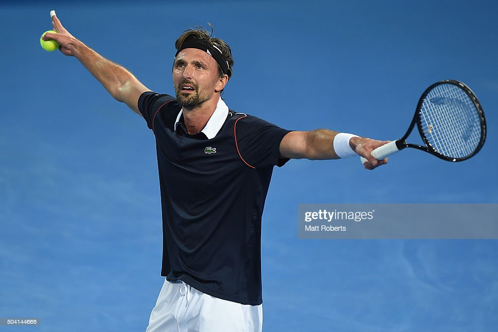 Goran Ivanisevic takes part in the Fast4 Legends match against Pat Cash of Australia during day seven of the 2016 Brisbane International at Pat...