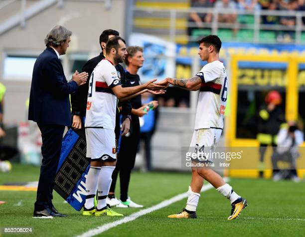 Goran Pandev and Pietro Pellegri of Genoa CFC during the Serie A match between FC Internazionale and Genoa CFC at Stadio Giuseppe Meazza on September...