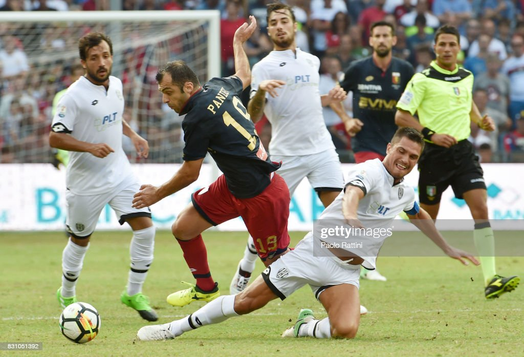 Goran Pandev (Genoa) and Romano Perticone (Cesena) during the TIM Cup match between Genoa CFC and AC Cesena at Stadio Luigi Ferraris on August 13, 2017 in Genoa, Italy.