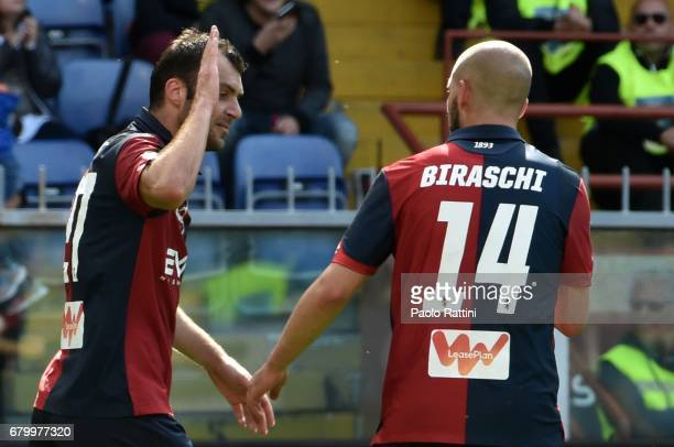Goran Pandev celebrate after score 10 during the Serie A match between Genoa CFC and FC Internazionale at Stadio Luigi Ferraris on May 7 2017 in...