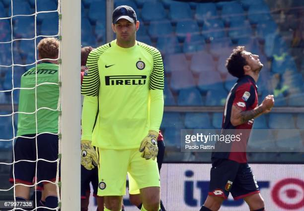 Goran Pandev celebrate after score 10 Samir Handanovic disappointment during the Serie A match between Genoa CFC and FC Internazionale at Stadio...