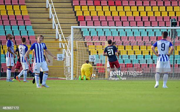 Goran Pandev of CFC Genua scores the 20 during the game between Hertha BSC and CFC Genua on august 1 2015 in Berlin Germany