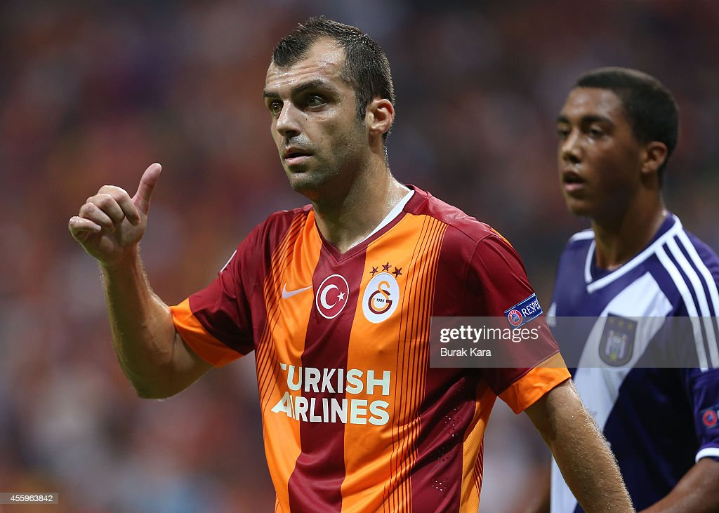 <a gi-track='captionPersonalityLinkClicked' href=/galleries/search?phrase=Goran+Pandev&family=editorial&specificpeople=800427 ng-click='$event.stopPropagation()'>Goran Pandev</a> of Galatasaray in action during the UEFA Champions League group D match between Galatasaray AS and RSC Anderlecht on September 16, 2014, at TT Arena Stadium in Istanbul, Turkey.