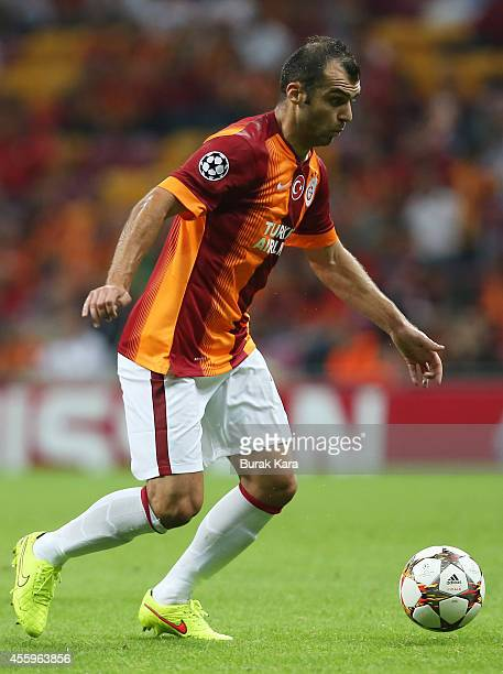 Goran Pandev of Galatasaray runs with the ball during the UEFA Champions League group D match between Galatasaray AS and RSC Anderlecht on September...
