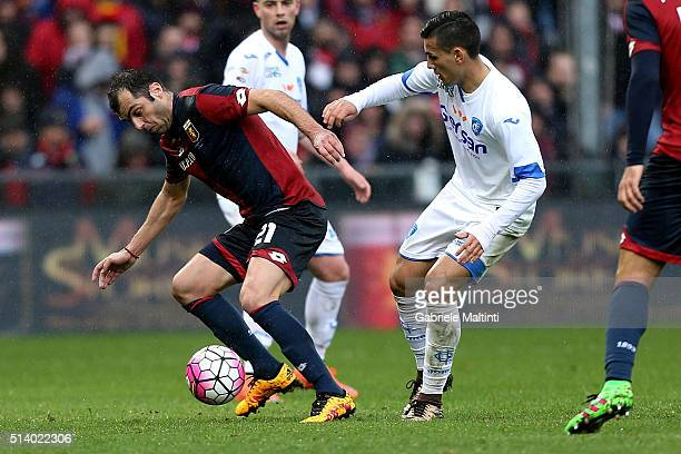 Goran Pandev of Genoa CFC battles for the ball with Leandro Paredes of Empoli FC during the Serie A match between Genoa CFC and Empoli FC at Stadio...