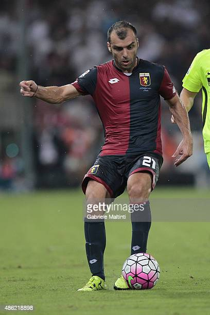 Goran Pandev of Genoa CFC in action during the Serie A match between Genoa CFC and Hellas Verona FC at Stadio Luigi Ferraris on August 30 2015 in...