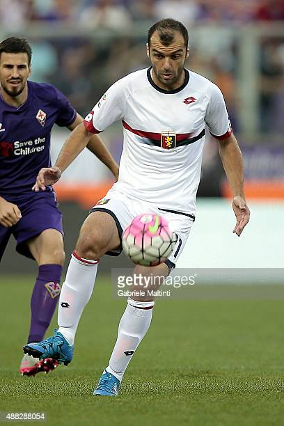 Goran Pandev of Genoa CFC in action during the Serie A match between ACF Fiorentina and Genoa CFC at Stadio Artemio Franchi on September 12 2015 in...