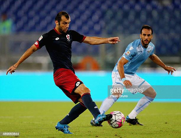 Goran Pandev of Genoa CFC in action during the Serie A match between SS Lazio and Genoa CFC at Stadio Olimpico on September 23 2015 in Rome Italy