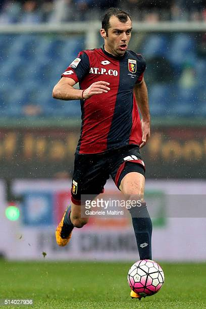 Goran Pandev of Genoa CFC in action during the Serie A match between Genoa CFC and Empoli FC at Stadio Luigi Ferraris on March 6 2016 in Genoa Italy