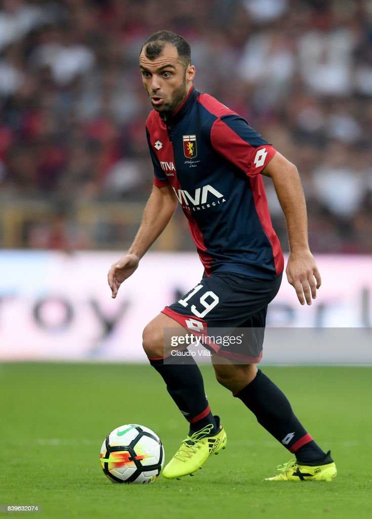 Goran Pandev of Genoa CFC in action during the Serie A match between Genoa CFC and Juventus at Stadio Luigi Ferraris on August 26, 2017 in Genoa, Italy.