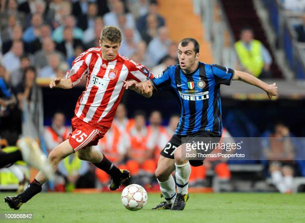 Goran Pandev of Inter Milan with Thomas Muller of Bayern Munich during the UEFA Champions League Final match between Bayern Munich and Inter Milan at...