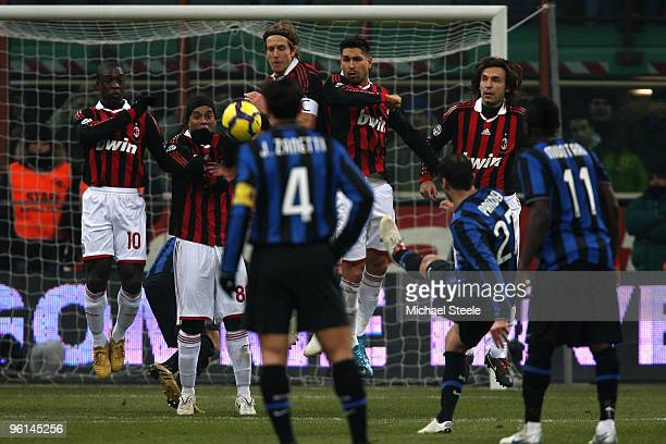 Goran Pandev of Inter scores his sides second goal direct from a free kick during the Serie A match between Inter Milan and AC Milan at Stadio...