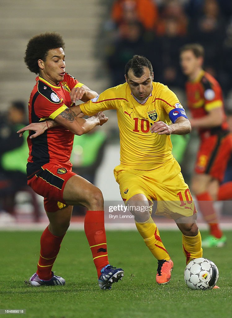 Goran Pandev of Macedonia holds off Axel Witsel of Belgium during the FIFA 2014 World Cup Qualifier Group A match between Belgium and Macedonia at Stade Roi Baudouis on March 26, 2013 in Brussels, Belgium.