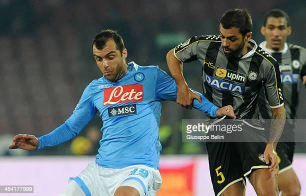 Goran Pandev of Napoli and Danilo of Udinese in action during the Serie A match between SSC Napoli and Udinese Calcio at Stadio San Paolo on December...