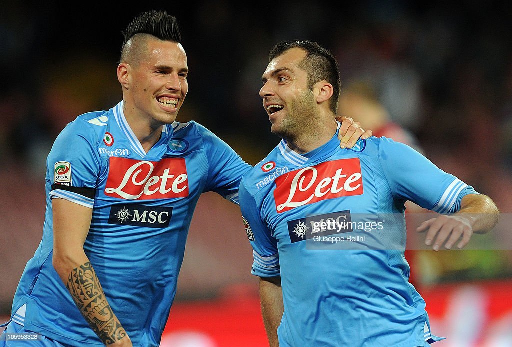 <a gi-track='captionPersonalityLinkClicked' href=/galleries/search?phrase=Goran+Pandev&family=editorial&specificpeople=800427 ng-click='$event.stopPropagation()'>Goran Pandev</a> of Napoli (R) celebrates after scoring the opening goal during the Serie A match between SSC Napoli and Genoa CFC at Stadio San Paolo on April 7, 2013 in Naples, Italy.