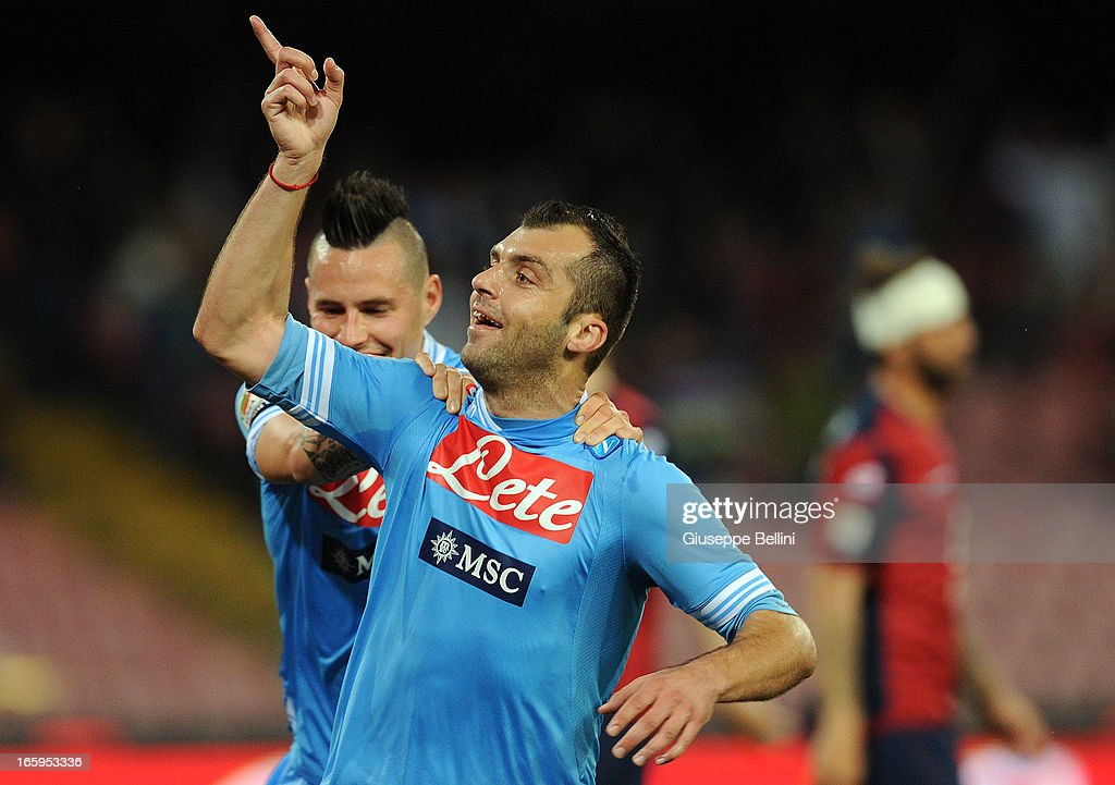 <a gi-track='captionPersonalityLinkClicked' href=/galleries/search?phrase=Goran+Pandev&family=editorial&specificpeople=800427 ng-click='$event.stopPropagation()'>Goran Pandev</a> (R) of Napoli celebrates after scoring the opening goal during the Serie A match between SSC Napoli and Genoa CFC at Stadio San Paolo on April 7, 2013 in Naples, Italy.