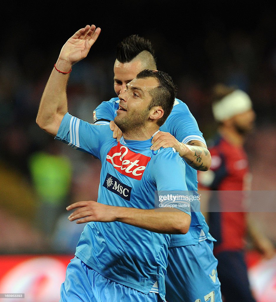 <a gi-track='captionPersonalityLinkClicked' href=/galleries/search?phrase=Goran+Pandev&family=editorial&specificpeople=800427 ng-click='$event.stopPropagation()'>Goran Pandev</a> of Napoli celebrates after scoring the opening goal during the Serie A match between SSC Napoli and Genoa CFC at Stadio San Paolo on April 7, 2013 in Naples, Italy.