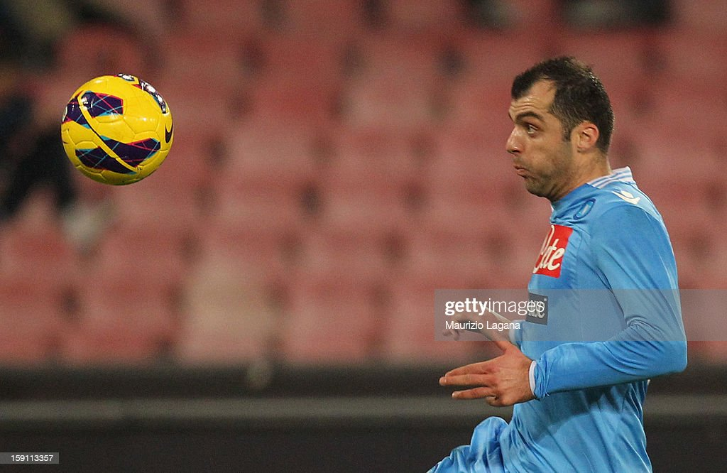 Goran Pandev of Napoli during the Serie A match between SSC Napoli and AS Roma at Stadio San Paolo on January 6, 2013 in Naples, Italy.