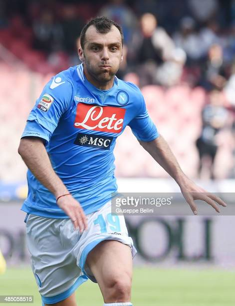 Goran Pandev of Napoli during the Serie A match between SSC Napoli and SS Lazio at Stadio San Paolo on April 13 2014 in Naples Italy