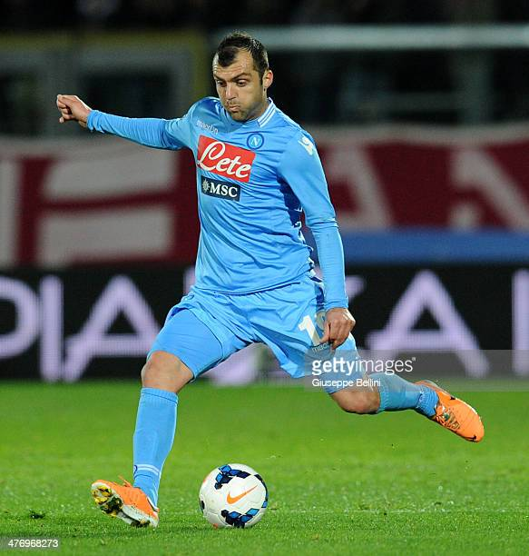 Goran Pandev of Napoli in action during the Serie A match between AS Livorno Calcio and SSC Napoli at Stadio Armando Picchi on March 2 2014 in...