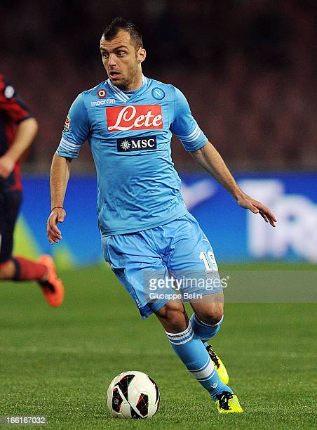 Goran Pandev of Napoli in action during the Serie A match between SSC Napoli and Genoa CFC at Stadio San Paolo on April 7 2013 in Naples Italy