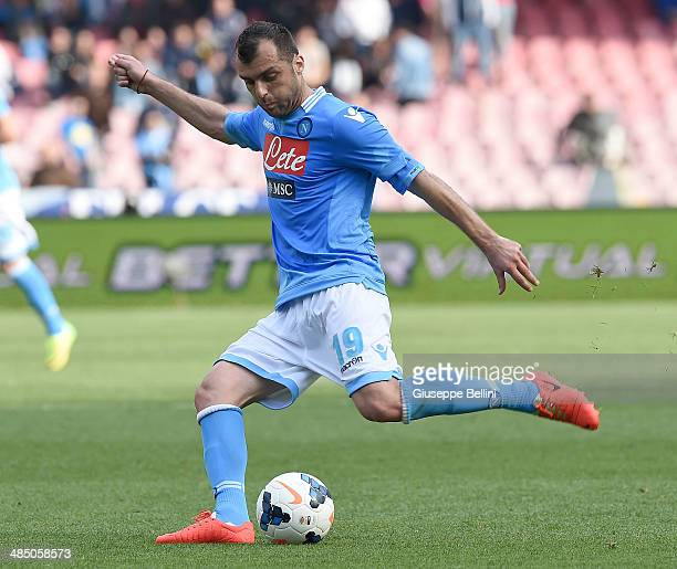 Goran Pandev of Napoli in action during the Serie A match between SSC Napoli and SS Lazio at Stadio San Paolo on April 13 2014 in Naples Italy