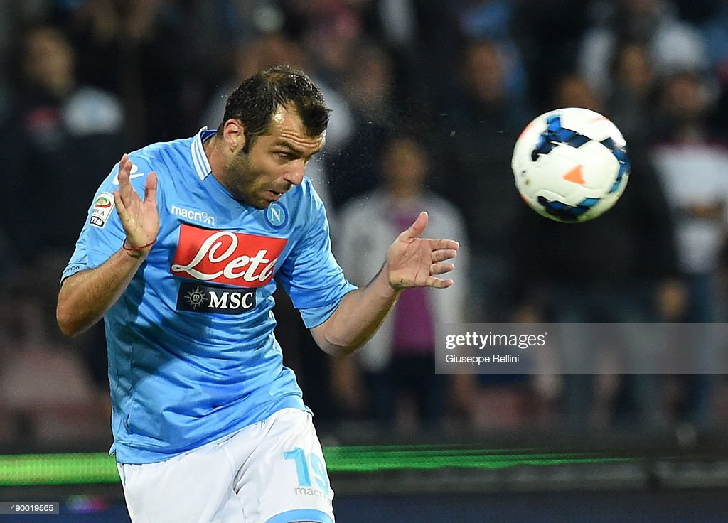 <a gi-track='captionPersonalityLinkClicked' href=/galleries/search?phrase=Goran+Pandev&family=editorial&specificpeople=800427 ng-click='$event.stopPropagation()'>Goran Pandev</a> of Napoli in action during the Serie A match between SSC Napoli and Cagliari Calcio at Stadio San Paolo on May 6, 2014 in Naples, Italy.