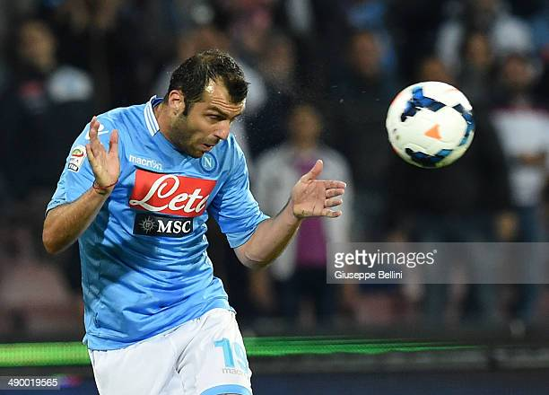 Goran Pandev of Napoli in action during the Serie A match between SSC Napoli and Cagliari Calcio at Stadio San Paolo on May 6 2014 in Naples Italy