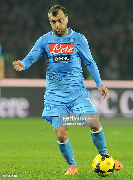 Goran Pandev of Napoli in action during the Tim cup match between SSC Napoli and Atalanta BC at Stadio San Paolo on January 15 2014 in Naples Italy