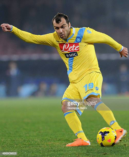 Goran Pandev of Napoli in action during the TIM Cup match between SSC Napoli and SS Lazio at Stadio San Paolo on January 29 2014 in Naples Italy