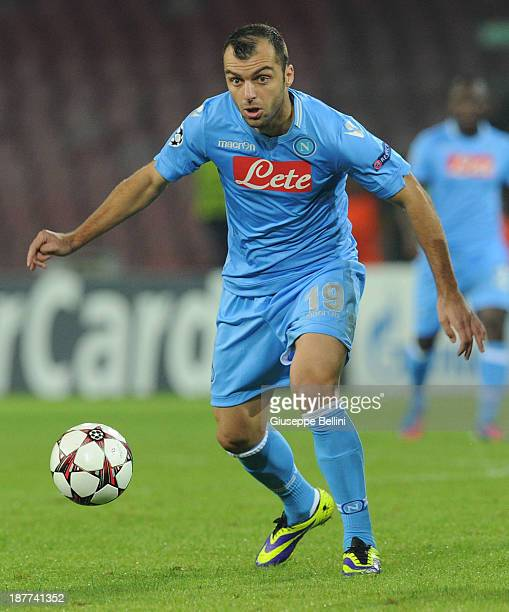 Goran Pandev of Napoli in action during the UEFA Champions League Group F match between SSC Napoli and Olympique de Marseille at Stadio San Paolo on...