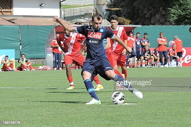 Goran Pandev of Napoli scores his penalty goal during the preseason friendly match between SSC Napoli and US Grosseto on July 23 2012 in Dimaro near...